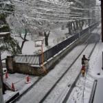 雪の道の親子越谷 信弘